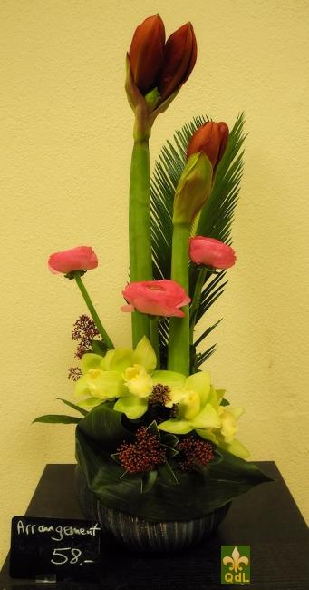 Aaryllis , Renoncule , fleuron de Cybidium feuille de Cycas
