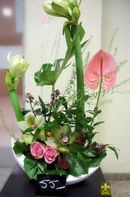 Amaryllis , Anthurium , Rose , Fleuron de Cymbidium Feuille de Monstera