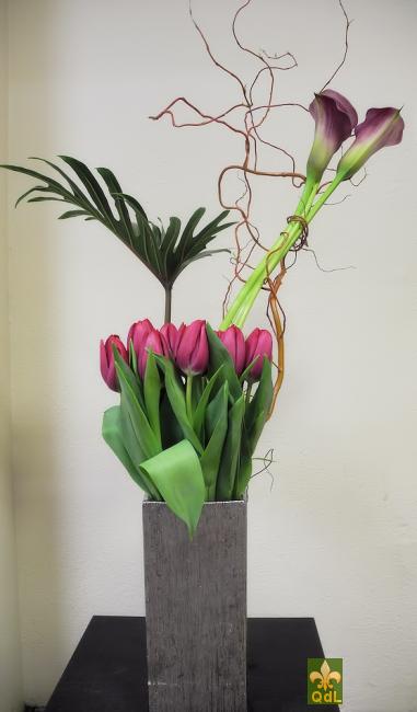 Calla ,Tulipe , Branche de Saule , Feuille de Xanadu