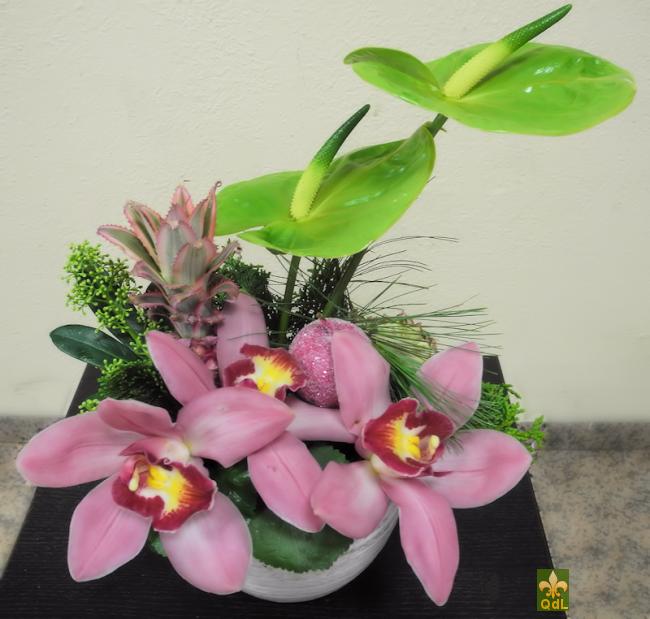 Anthurium , Fleuron de Cymbidium ,Ananas