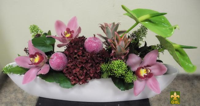 Anthurium , Ananas, Fleuron de Cymbidium , Hortensia